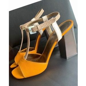 Lanvin T-Strap Chunky Heel Sandal